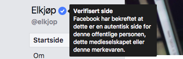 verifisert side facebook